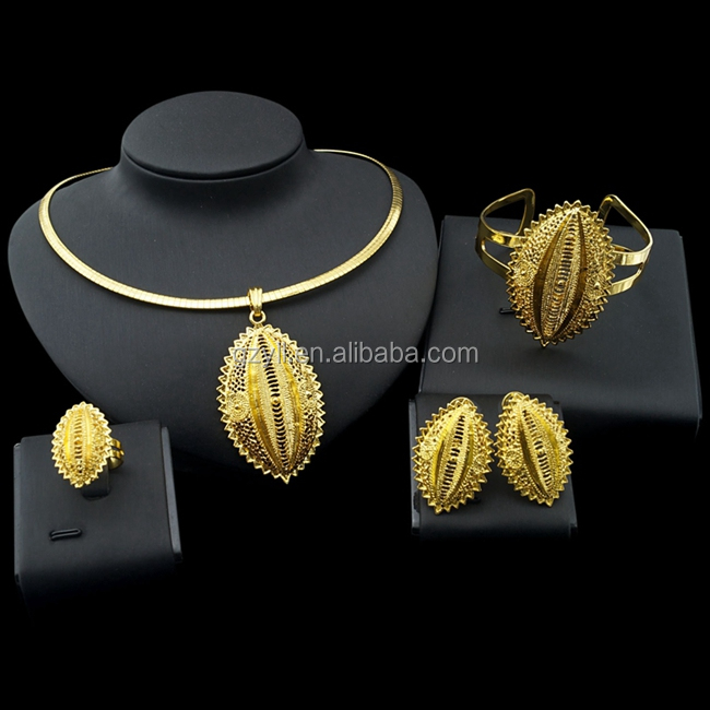 Ethiopia Traditional Girl's Bridal Jewelry 24K Gold Plated African Women Wedding Jewelry Sets