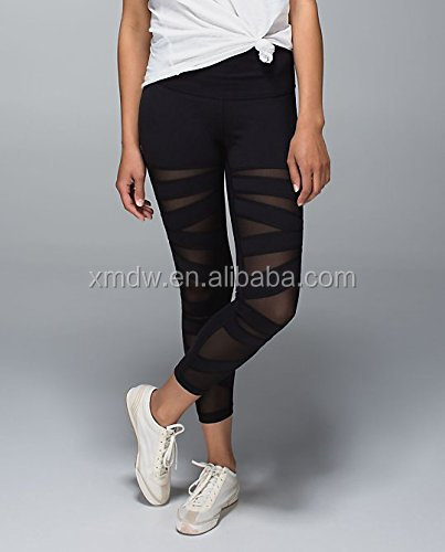In Stock Lower MOQ Hot Sexy Black Mesh Yoga Leggings Women