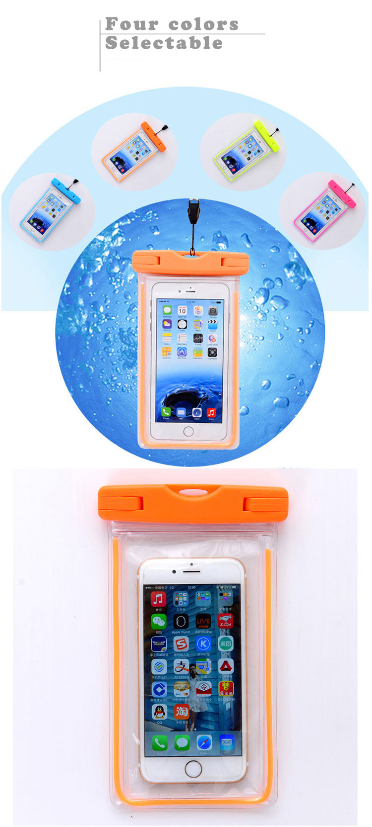 pvc mobile cell phone waterproof plastic polyester sports bag for phone (3)