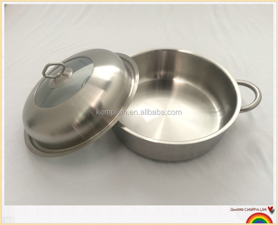 2016 New style stainless steel cookware 3ply cookpot with steamer pot set 28cm 3pcs with lid