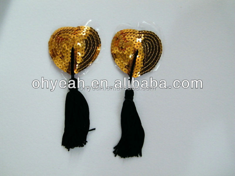 New style sequin heart nipple tassels pasties covers tassels sexy women's