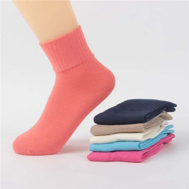 Wholesale pure color rib leg falt turn cuff socks