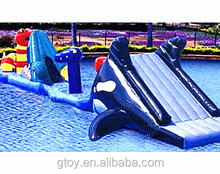 inflatable sea monsters whale, sea snake tunnel and slide airtight obstacle course water game water/amusement park fun game