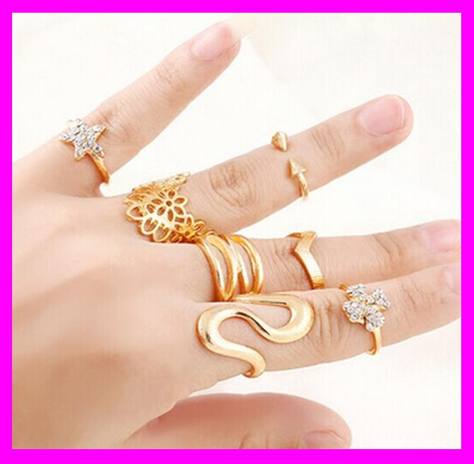 KDA2597 fashion 2017 wholesale woman gold snake ring set