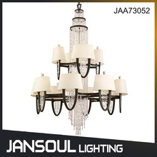 European traditional 2 layer antique silver crystal chandelier pendant lighting for banquet or restaurant