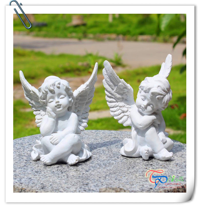 Hot Sale resin white small cute cupid angel statue