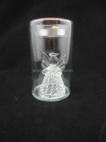 Star glass tealight with spun angel inside candle holders