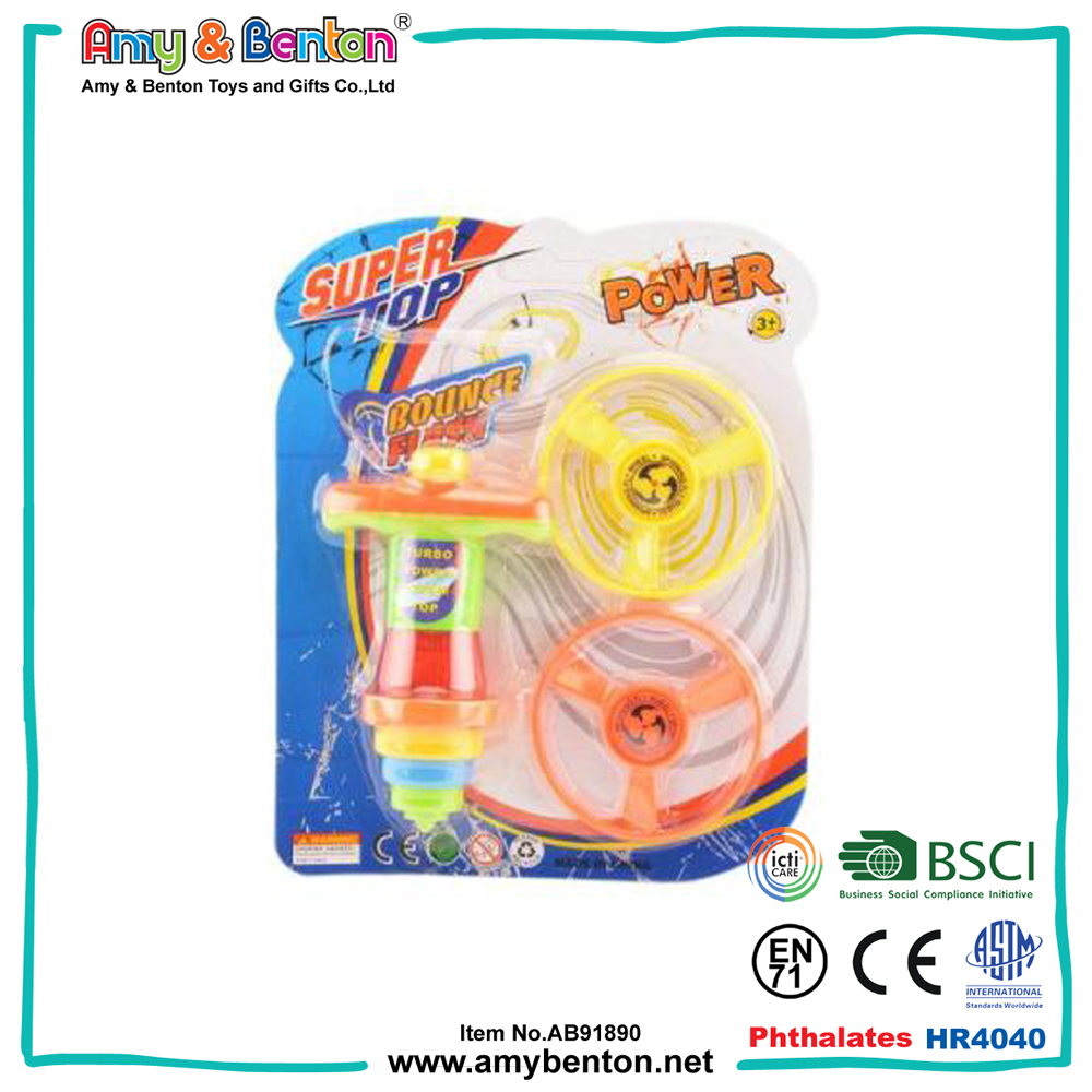 Hot sale plastic super bounce led flashing spinning top toys