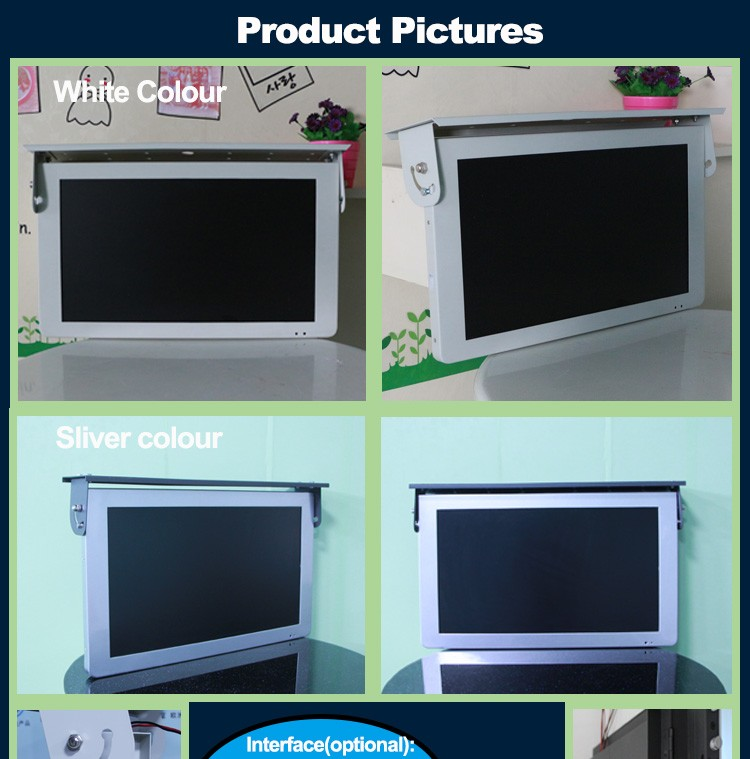 22 inch bems 3G/4G wifi roof mounted bus lcd tv monitor 24v