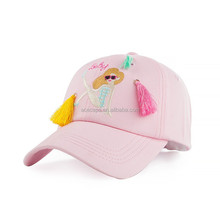 Latest Selling Pink Black Embroidery Luxury Mermaid Girl Women Ladies Baseball Cap With Wig And Fur