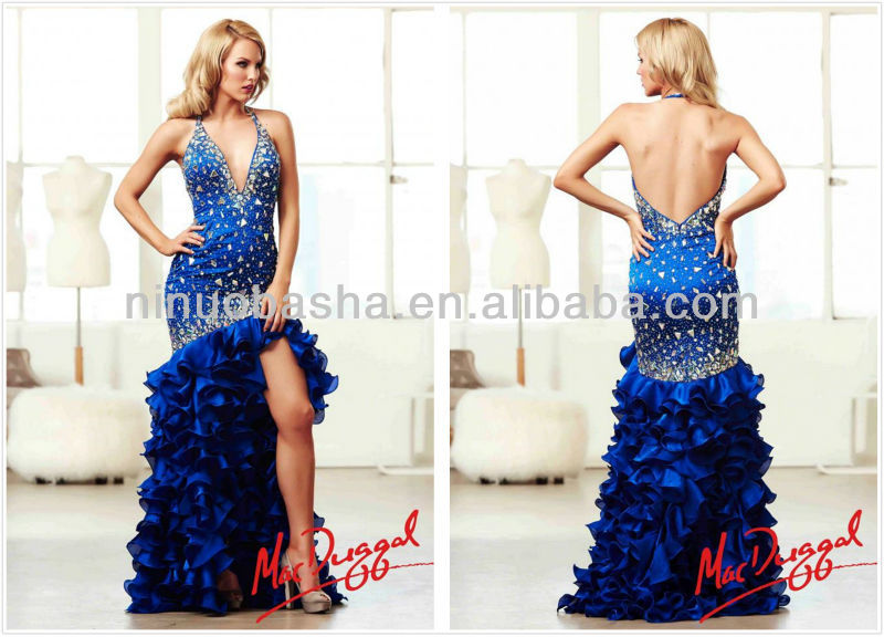 Sexy Blue Halter Backless Mermaid Mac Duggal Long Prom Dress 2014 Heavily Beaded Cascading Ruffles Satin Evening Gown NB0278