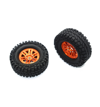 GPM ALUMINUM 6 POLES WHEELS + CRAWLER TIRES -2PC SET RC CAR UPGRADE ACCESSORIES FOR TRAXXAS TRX4 DEFENDER