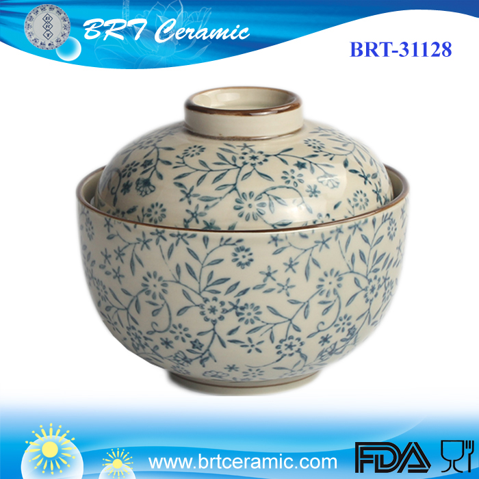 Japanese ceramic rice bowl with lid
