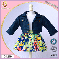 leisure clothing 24inch american girl doll/fashion design flower dress and demin jacket/most beautiful girls dress