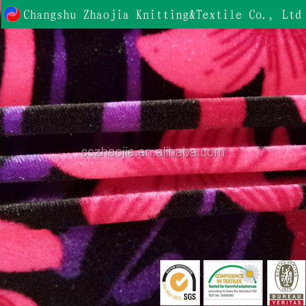 Hot sale custom beautiful Luxury fluorescent printed velour garment fabric for Upholstery