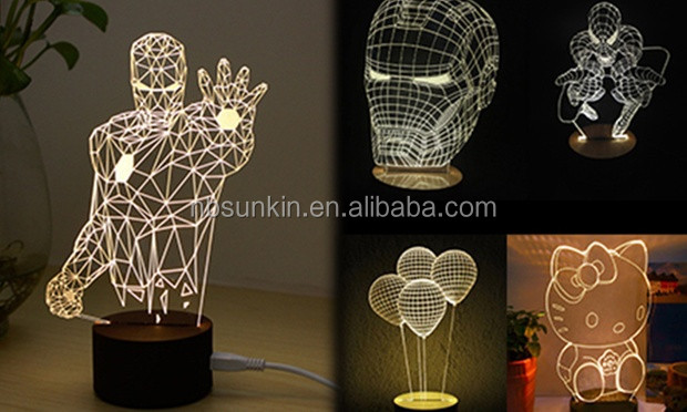 New products 2016 3d illusion light 7 color change Touch switch table desk lamp LED night light