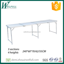 3 heights adjustable fold outdoor table 4 sections extended picnic table