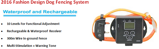 2016 Protable Wireless Invisible Electric Shock Fence for Dog, Rechargeable Waterproof Outdoor In-Ground Dog Fencing Collar