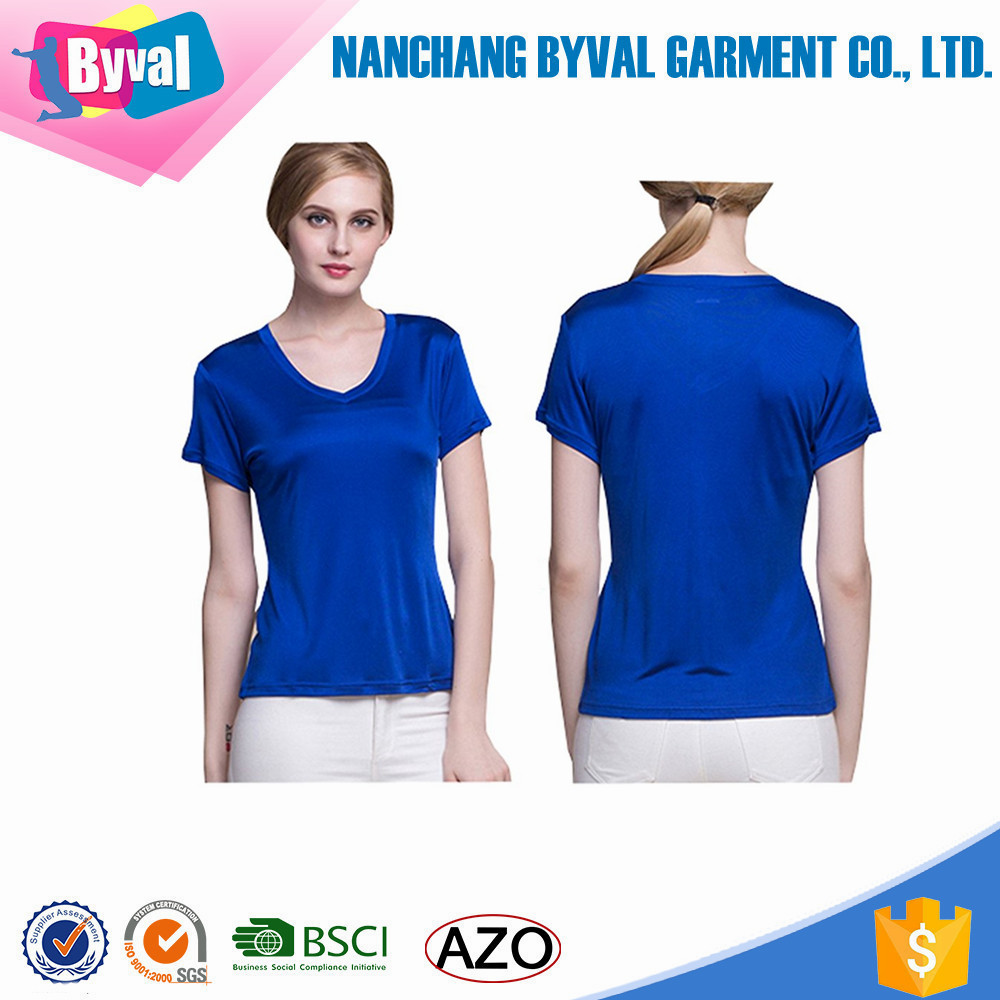 Top Shelf Woman V Neck t-shirt Silk t shirt Custom High Quality Woman Tops Royal Blue