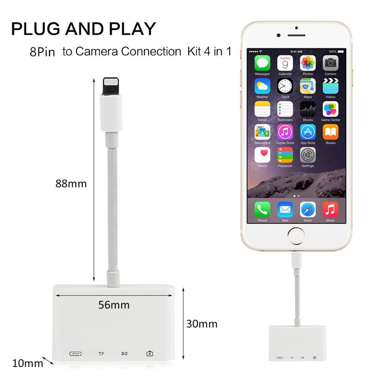 4 in 1 SD TF kaartlezer Geen behoefte app Plug en play verbinding kit Adapter voor iPhone 7/7 Plus/8/8 Plus/X voor ipad