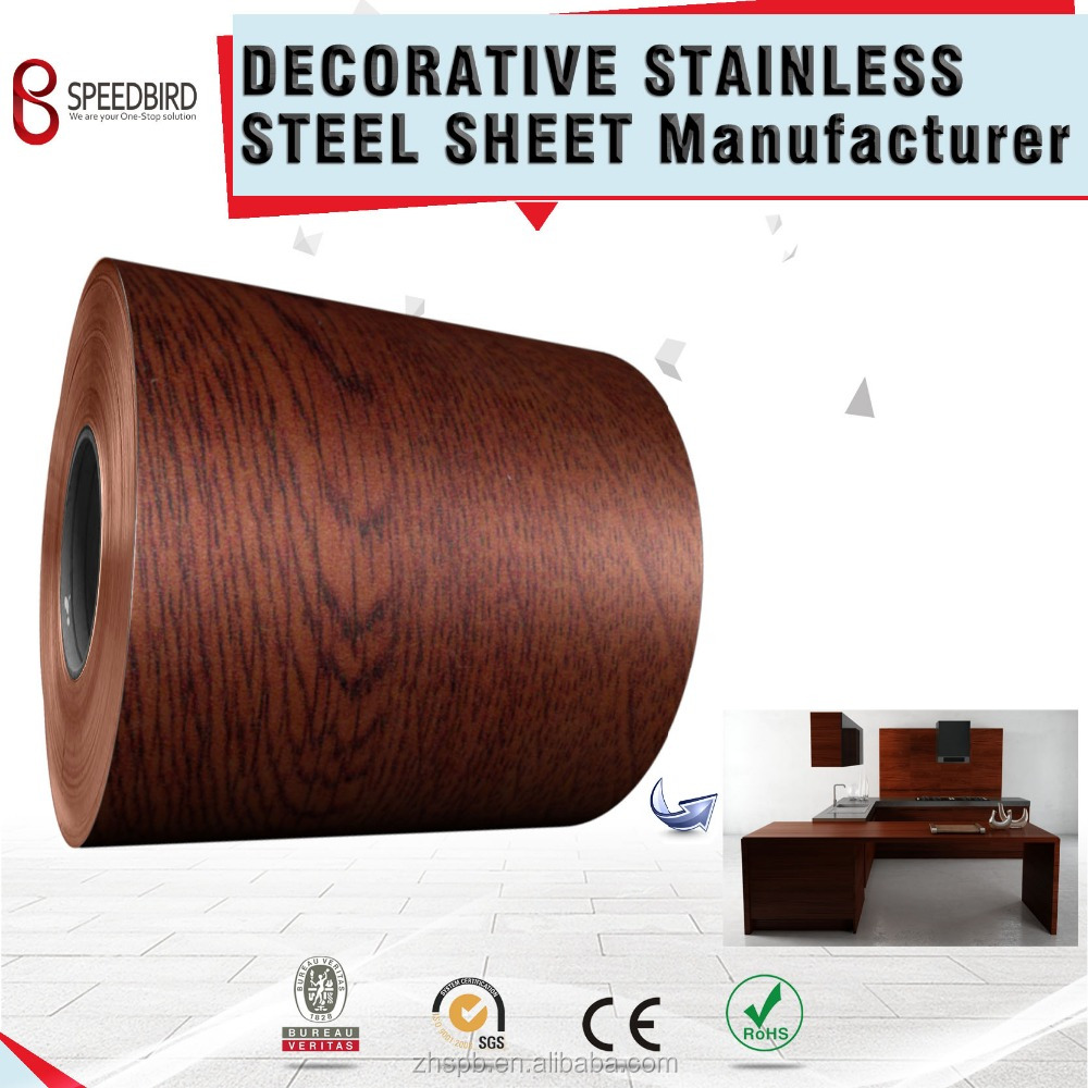 Color coated wood grain stainless steel decorative wall covering sheets for lift cabin decorative