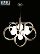 white color modern resin chandelier with opal glass lamp shade