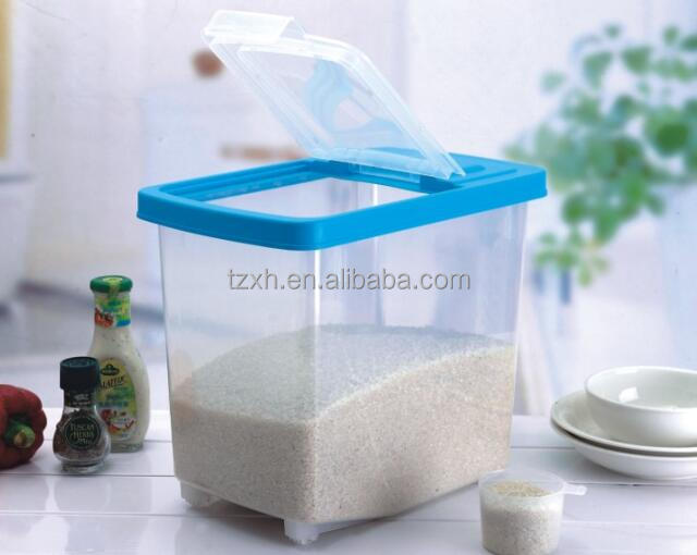 Plastic kitchenware airtight rice food storage container with wheels