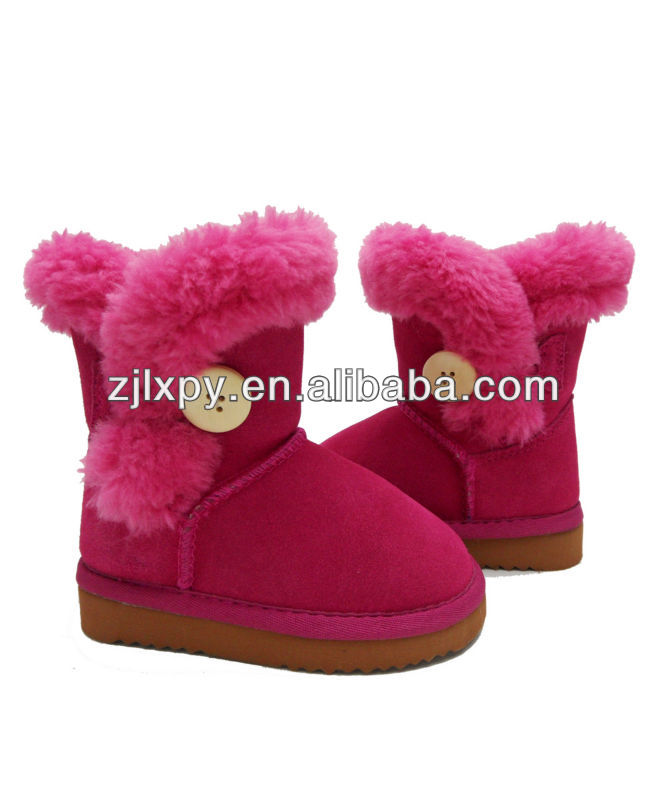 2014 fashion sheepskin leather kids boots for winter