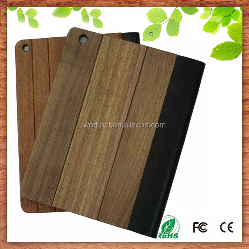 2016 new arrival bamboo wood leather flip case for ipad mini 4, for ipad mini 4 leather case