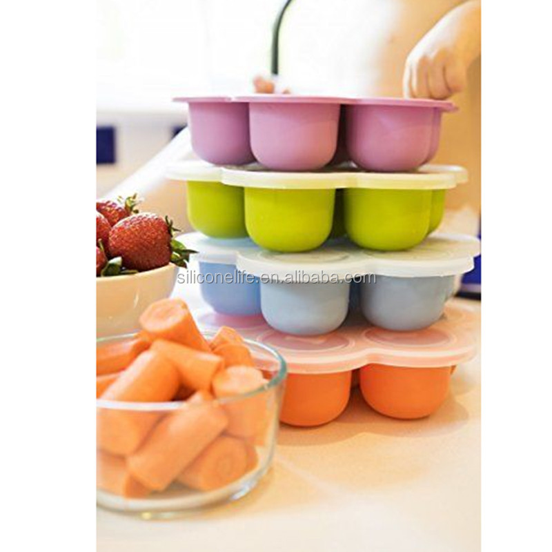 New 100% Food Garde Silicone Homemade Popular Silicone Baby Food storage Freezer Tray