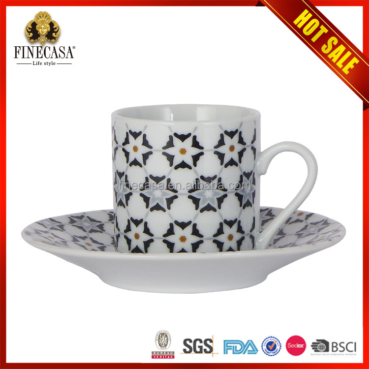 High quality ceramic cup and plate with print