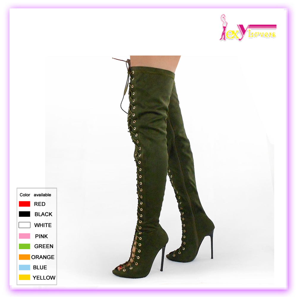China sexy suede high heel open toe long boots women lace up thigh high boots 2016