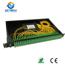 ftth system and pon network 1x32 plc splitter with 19 inch rackmount SC UPC connector fiber optical splitter