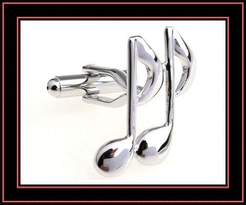 fahion designer silver music note shaped cufflinks