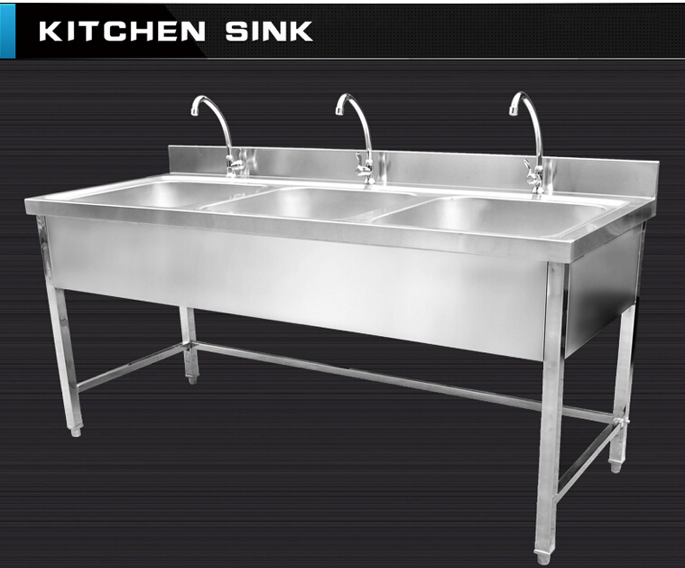 Triple bowls stainless steel kitchen sink cabinet with faucets ...