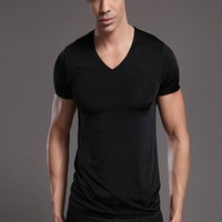 2016 Newest Men's ice silk t-shirt manufacturers in china bulk v-neck t shirts brand name shirt
