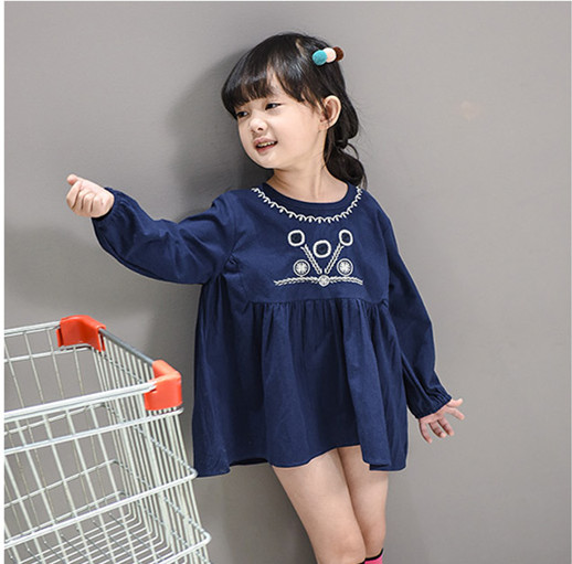 Latest embroidery deep blue O neck children dress long sleeves blouse style