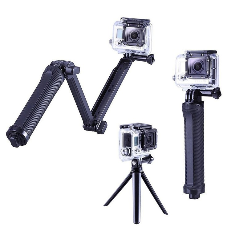 High quality gopros 3 way monopod with camera tripod for go pro sjcam xiaomis yi 3 way pole selfie stick