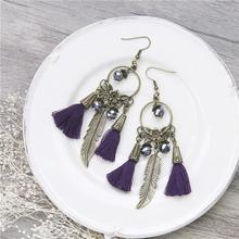 Vintage Ethnic Tassel Earrings Round Antique Bronze Feather Purple AB Color Beads 10.3cm x 2.7cm