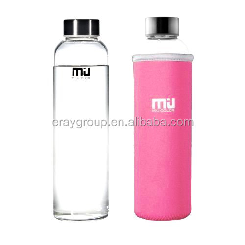 ERAY 360/420/550ml unbreakable higher quality environmental borosillicate glass sports bottle with colorful nylon sleeve