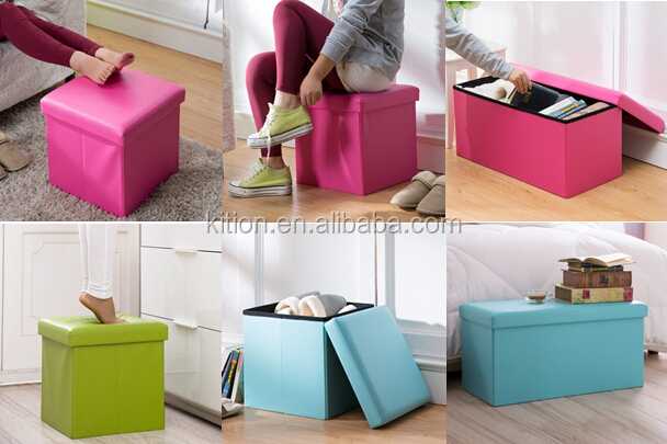 Storage ottoman 76cm 38cm 31cm printed pvc faux leather