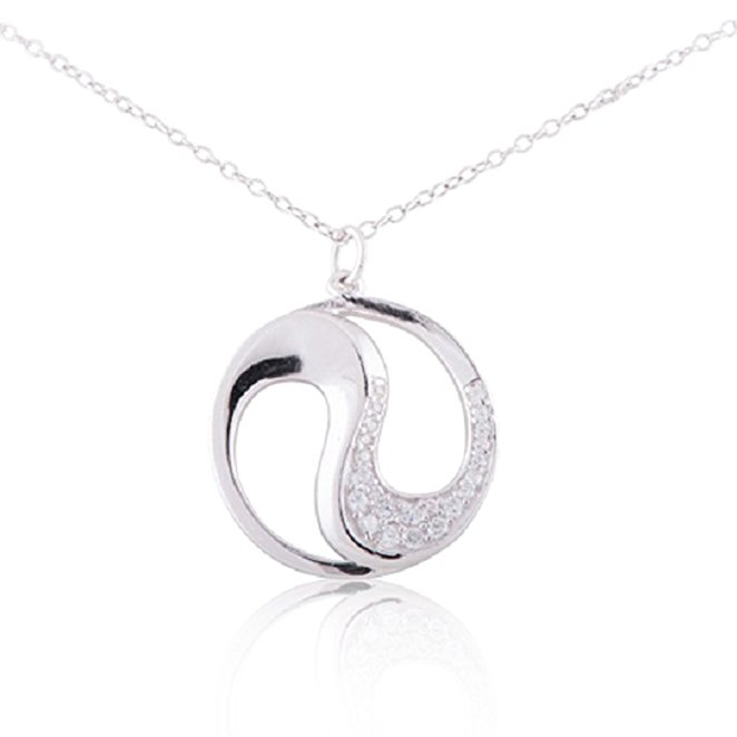 925 Sterling Silver Ying Yang Charm Pendant Necklace 18""