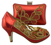 AB8328#4 red ladies wedding shoes and bag to match