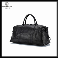 Unisex Black Genuine Leather Big Capacity