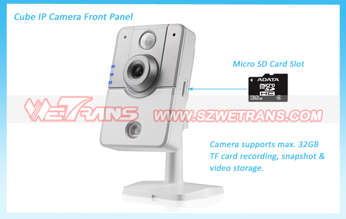 5m IR Distance with SD Card and P2P Built-in PIR Cube Wireless Mini IP Camera