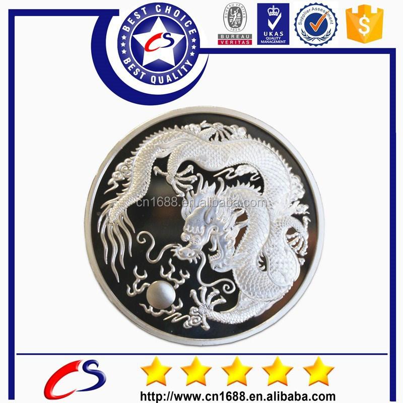 Fashion custom design silver rare coin for sale with dragon logo