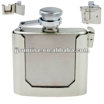 stainless steel belt buckle hip flask