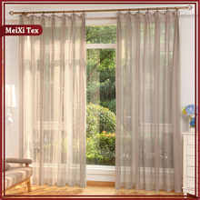 100% Polyester linen long curtains for living room, fire retardant gauze white drapery fabric curtain manufacturer