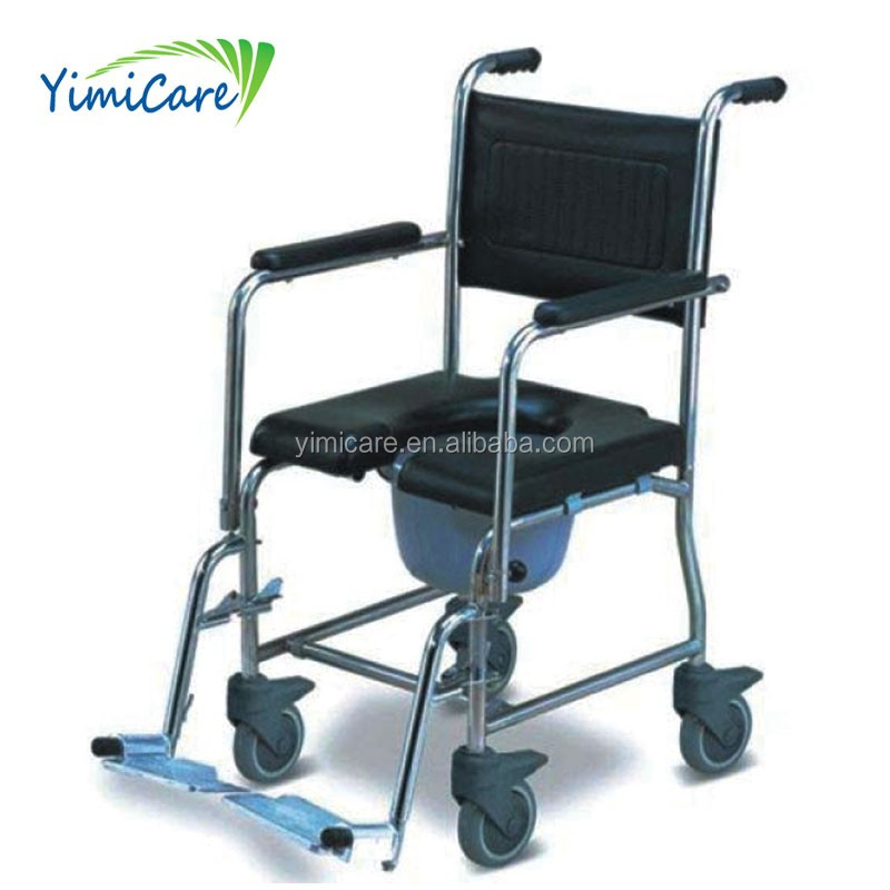 Manual Stainless Steel commode shower chair with wheels for patient