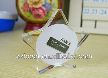 Creative Five-pointed Star Shaped Acrylic Photo Frame with High Transparent and Good Quality